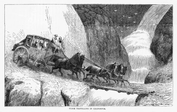 Stagecoach travellers in California might enjoy the magnificent scenery, if they weren't so scared their coach is going to go over the edge and into the ravine