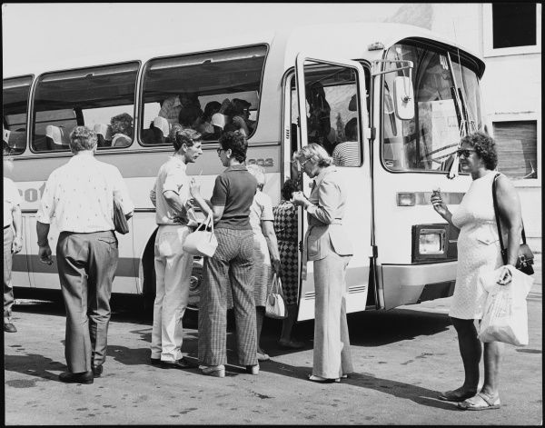 Tourists on a coach trip to Kotor, Yugoslavia