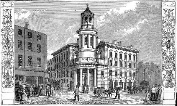 Engraving showing the exterior of the Coal Exchange, London, 1849