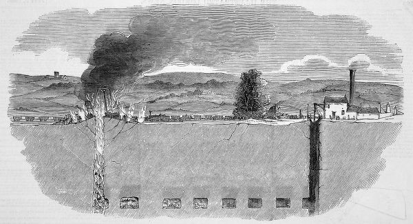 Coal mine fire at the Tyldesley Collieries near Manchester. The fire spread so furiously that all the shafts were unaccessable