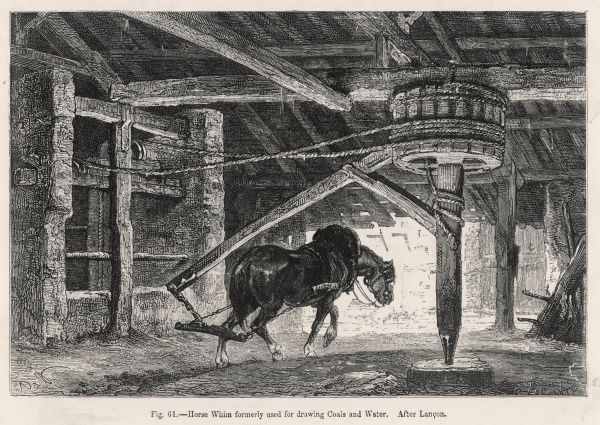 A horse working a whim in a French colliery