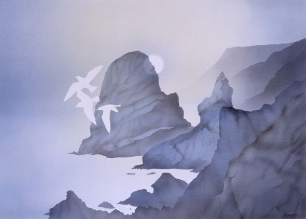 Three seagulls fly over a rocky coastline in the pale blue evening light. Airbrush painting by Malcolm Greensmith