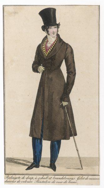 Hat with spreading crown, white cravat, brown coat with Brandenbourg trim & roll collar, strapped pantaloons, red under-waistcoat, black & yellow waistcoat