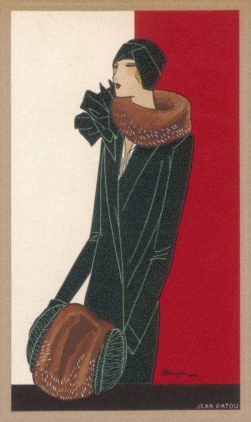 A fashionable lady wears an elegant coat by Jean Patou, and and has a matching scarf and muff to keep out the winter cold