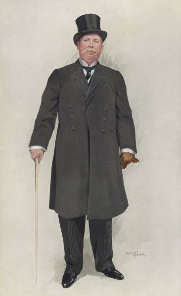 Price Ellison in a double- breasted overcoat not unlike a frock coat in styling
