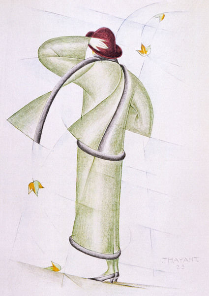 Simple tailored costume & matching scarf by Madeleine Vionnet translated into a sketch with futurist / cubist aplomb