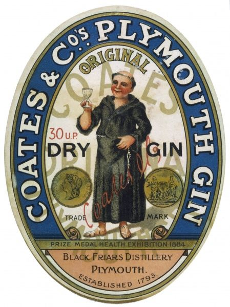 A label for Coates' Plymouth Gin