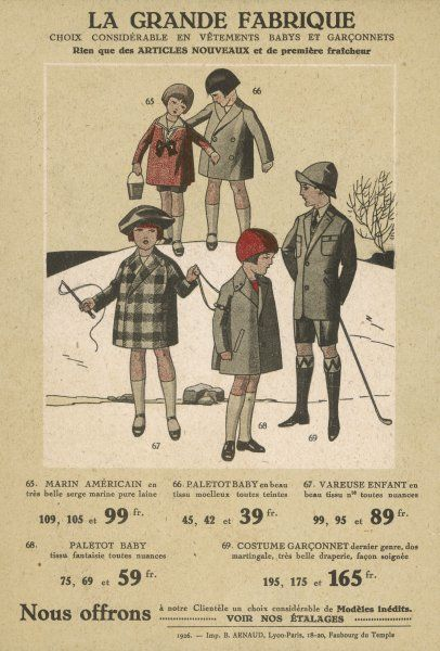 American blouse (sailor blouse), double and single- breasted short coats in plain or plaid fabric, boys suit with shorts