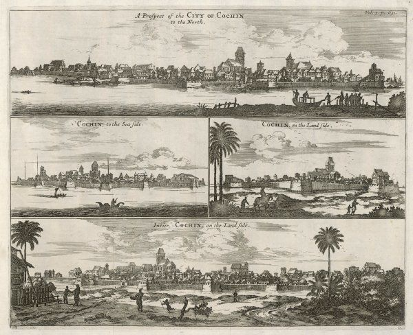 Four views of Cochin under Dutch occupation - to the North, on the sea side, and two aspects of the land side
