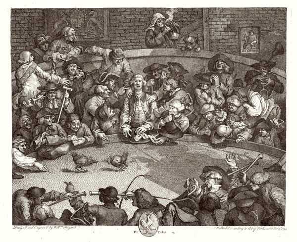THE COCK PIT Satirical illustration showing blindness of man drawn into betting on match, and other debauchery
