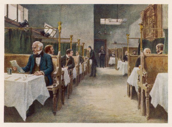 The dining room of the Cock Tavern on Fleet St. Like other pubs in the area, the Cock was frequented by luminaries like Pepys, Johnson and Tennyson. It was destroyed in 1886