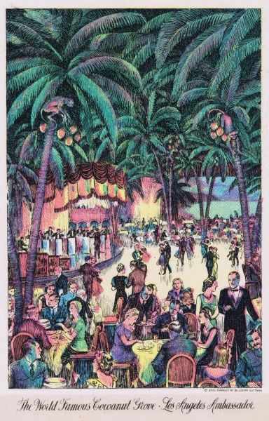A sketch of the interior of the Cocoanut Grove in the Ambassador Hotel, Los Angeles, Date: 1920s