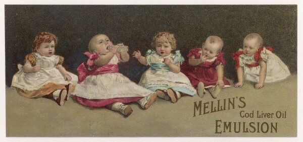Advertisement for Mellin's cod liver oil emulsion, for colds, coughs, chest ailments and wasting sickness