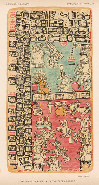 Part of a Calendar used by Maya priests, depicting gods and symbolic creatures Plate xx