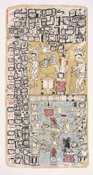 Part of a Calendar used by Maya priests, depicting gods and symbolic creatures Plate xxi