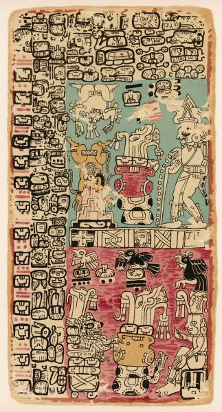 Part of a Calendar used by Maya priests, depicting gods and symbolic creatures Plate xxii