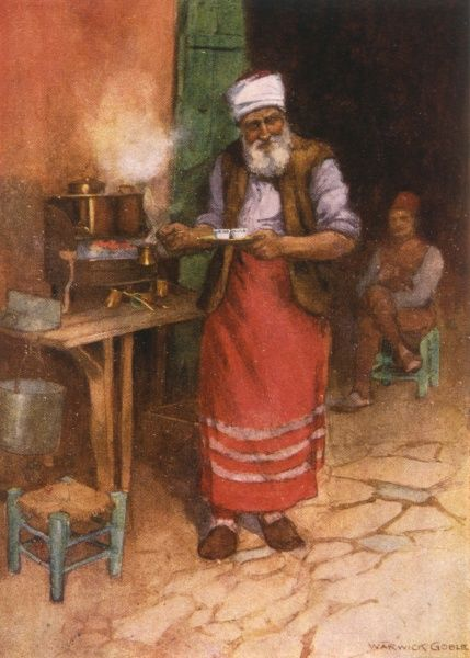 A street trader selling strong coffee in Istanbul Date: 1906