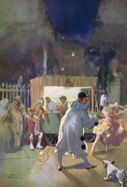 Painting of a coffee stall, an intrinsic part of a night out in London during the 1920s and 30s. Entitled, 'We won't go home till morning', this picture shows a number of revellers in fancy dress milling around by the stall. Date: 1930