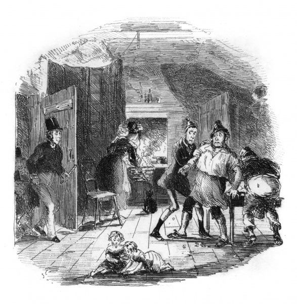 Police apprehend a gang of counterfeiters forging money, while their children play innocently in the foreground. Date: 1838