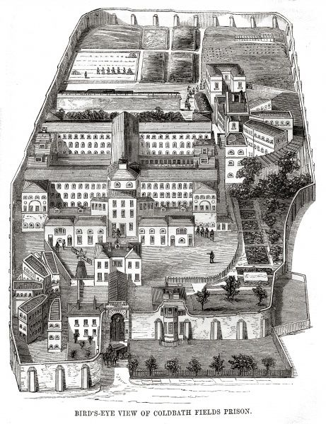 Bird's-eye view of the Coldbath Fields Prison at Clerkenwell. Date: 1862