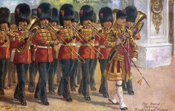The band of the COLDSTREAM GUARDS enters Buckingham Palace, London