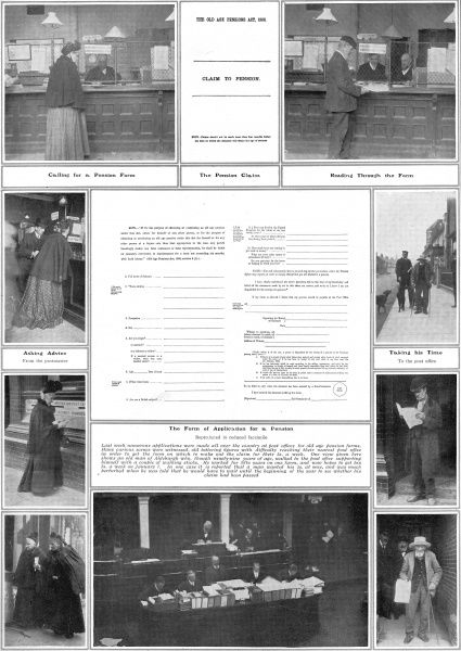 The introduction of pensions for the elderly. Images of men and women filling out applications in post offices after old age pensions were introduced by David Lloyd George in 1908