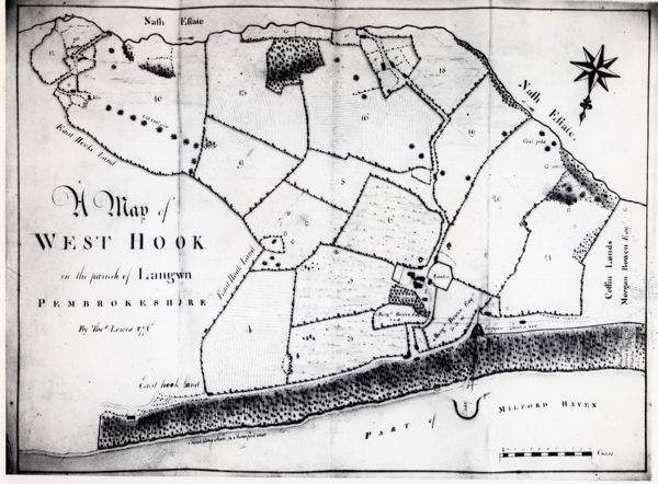 A colliery map (by Thomas Lewis) of the village of Hook, described here as West Hook in the parish of Langwn (Llangwm), showing fields, trees and mining locations. Hook is on the Western Cleddau near Haverfordwest, Pembrokeshire, South Wales