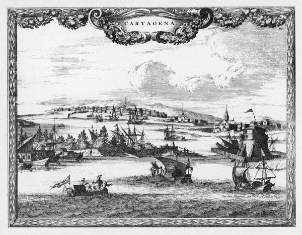 Cartagena: general view, with ships