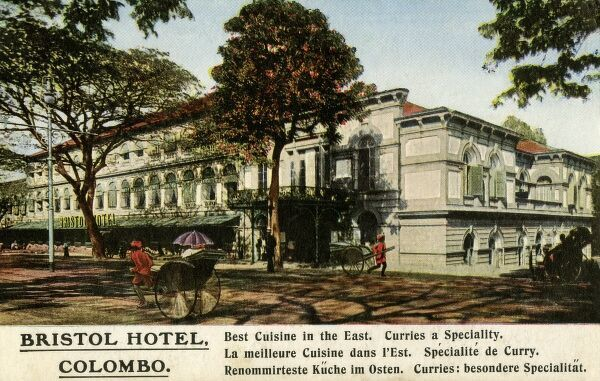 "Colombo, Sri Lanka (Ceylon) - The Bristol Hotel, boasting the ""Best Cuisine in the East - Curries a speciality&quot"