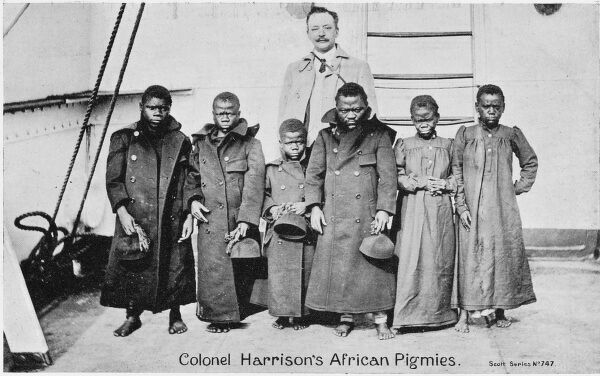 Colonel Harrison's African Pygmies - brought to the UK to be 'shown' on stage as persons of exotic interest! About a million people saw them before they left for the rain forests of the Congo in November 1907
