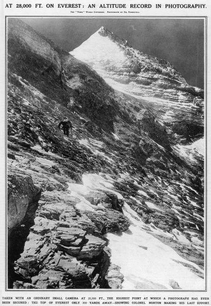 Photograph showing Colonel Edward Felix Norton (1884-1954) climbing Everest, at a height of about 28,000 feet, 1924