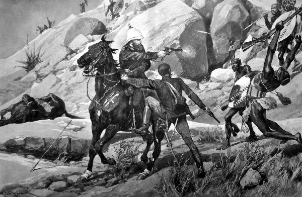 Illustration showing Colonel (later General) Sir Redvers Henry Buller (1839-1908) (centre, on horse) rescuing Captain D'Arcy during a skirmish with Zulu warriors on Inhlobane Mountain, 1879. In recognition of three acts of bravery at Inhlobane
