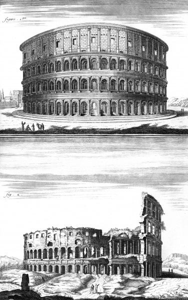 The COLOSSEUM in Rome built in the 1st century and its ruins in the 18th century. Date: 1st century / Circa 1760