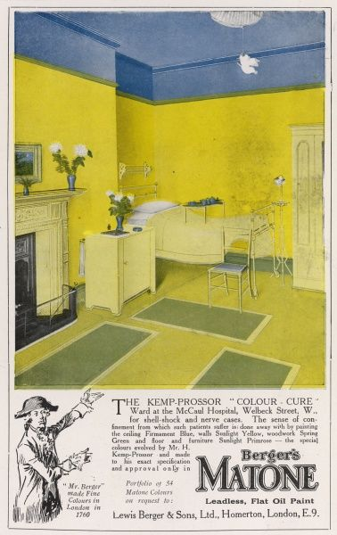 H. Kemp-Prossor's colour cure ward for shell shock cases, at McCaul hospital, Welbeck Street