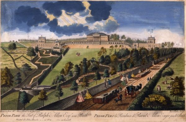 Colour engraving of Prior Park, near Bath, the seat of Ralph Allen Esq