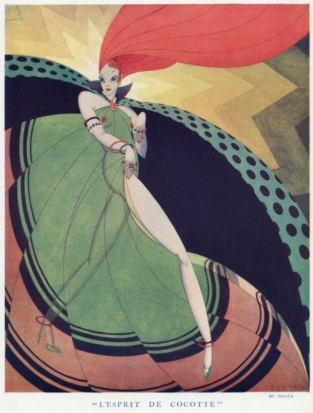 A stylistic illustration of a lady in a dramatic costume