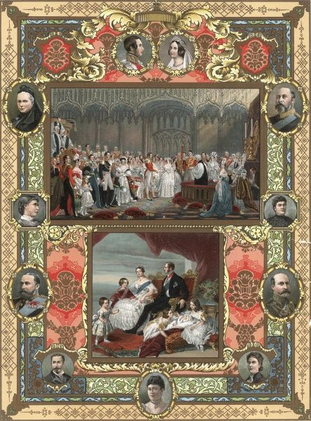 This vibrant colour plate depicts early scenes from the life of Queen Victoria and Prince Albert. Around the margin are portraits of their children as adults. This is no doubt to celebrate and commemorate the Queen's jubilee