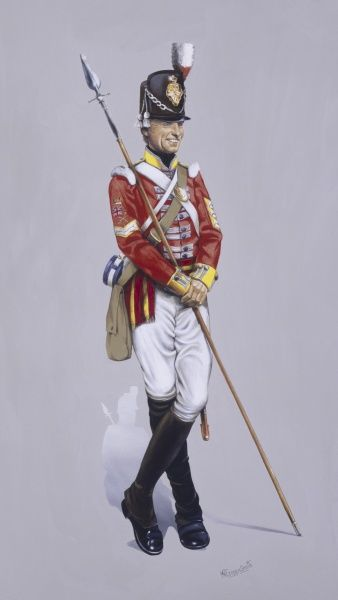 Colour Sergeant - 37th Regiment of Foot - North Hampshire Regiment amalgamated with the 67th South Hampshire in 1881 to form The Royal Hampshire Regiment. Painting by Malcolm Greensmith