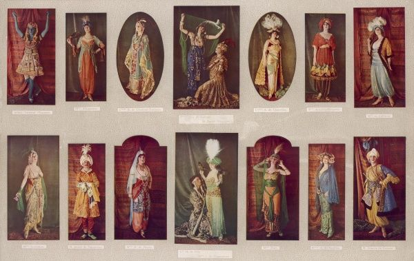 Exotic, colourful costumes worn by Infant Fernand d'Espagne, Mlse d'Argenson, Ctesse B. de Clermont-Tonnerre, Guy de Lucinge, M. Dmitri Benardaky, Ctesse A. de.Chabrillan, Mlse de Levis-Mirepoix, Mlle de Caillavet, Mme Goloubew, M. Andre de Fouquieres