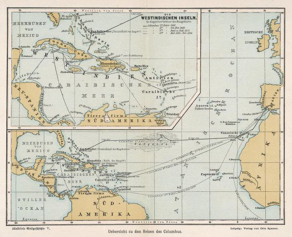 A map showing the voyages of Christopher Columbus