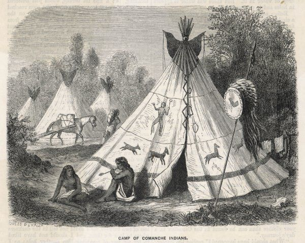 Decorated tepees in a Comanche encampment