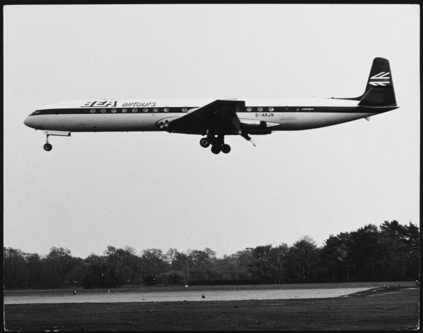 A British Comet Jet Airliner (BEA Airtours) taking off from London Gatwick Airport