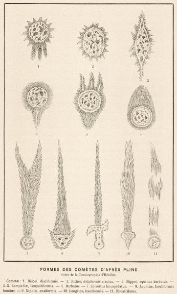 Various shapes of comet reported by Plinius the Elder (Gaius Plinius Secundus) including disk-shaped, twin- tailed, bearded, sword-like and other variants