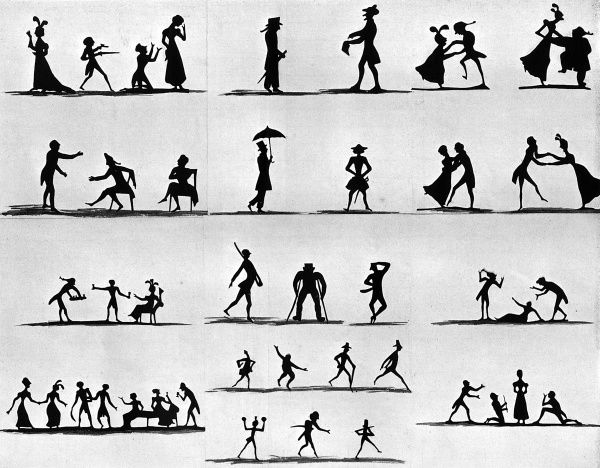 Painted silhouette figures of a comic character by an unknown artist. Date: c.1820
