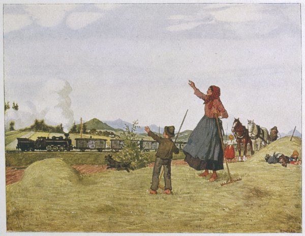 A mother and her children interrupt their work in the fields to wave at a train of soldiers returning from the war