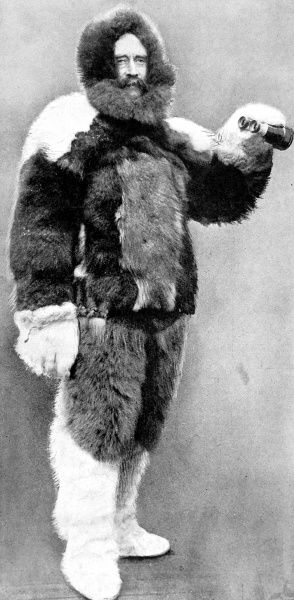 Photographic portrait of Robert E. Peary, the US Naval Commander and explorer, pictured in his Arctic furs, 1909. He claimed to be the first man to reach the North Pole, on 6th April 1909