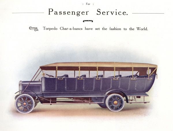 Commer 'Torpedo' Char-a-banc built up to 7 rows of seats to carry up to 33 passengers. Date: 1914