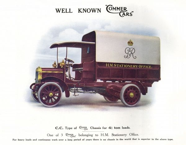 Commer 'Leeds' chassis for a 4 1/2-ton load. Date: 1914
