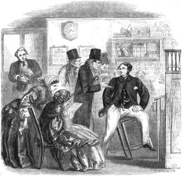 A stockbroker's office during the 'Railway Mania' when people were falling over themselves to buy shares in the new railways in Britain Date: circa 1850
