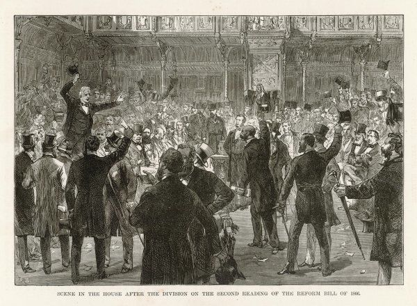 A scene in the House after the division on the second reading of the Reform Bill of 1866